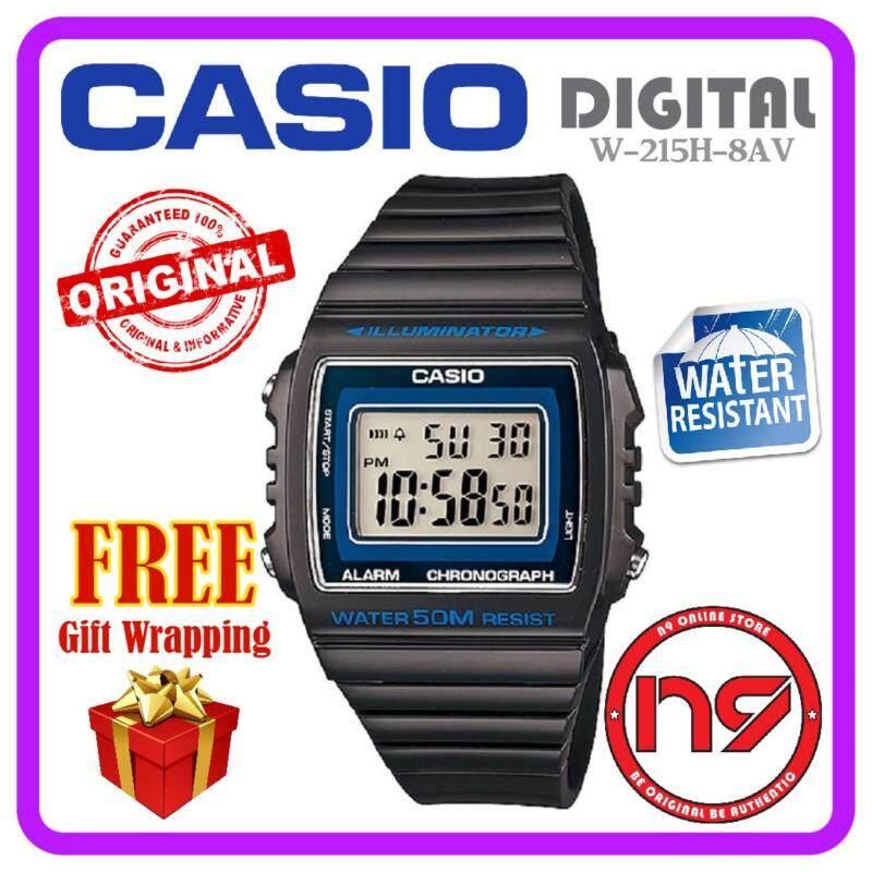Casio W-215H-8AV Unisex Ladies Men Watches Sports Black Rubber Strap Watch Jam Tangan Original Malaysia