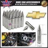 Broz Chevrolet High Quality Aluminum Universal M12 x P1.5 Wheel Nut - Silver (20PCS)