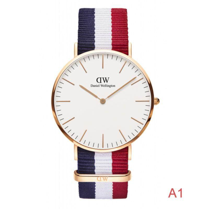 Classic Elegant Cambridge Quartz Watch Unisex with Multicolor Band Women&Men Royal Simple Stainless Steel with Tricolor Nylon Band Canvas Free 1 Rope (A1) Malaysia