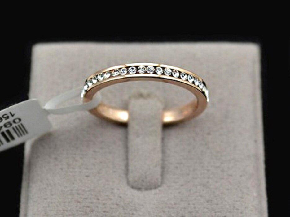 CLEARANCE BELOW COST - Genuine 18kgp Cubic Zirconia Eternity Rose Gold Ring - FREE SHIPPING