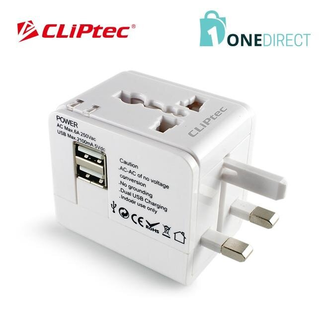 CLiPtec Universal Travelling Plug Adaptor with 2 USB ports (2.1A)-GZJ171 (White)