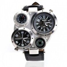 Compass Thermometer Sports Watches Quartz Watch LeatherStrapWatches Climbing Several Time Zone (Black)(NotSpecified)(OVERSEAS) Malaysia