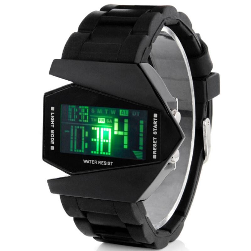 Cool Men Airplane Pilot LED Watch Flashlight Alarm Rubber Strap Sport Watch Black Malaysia