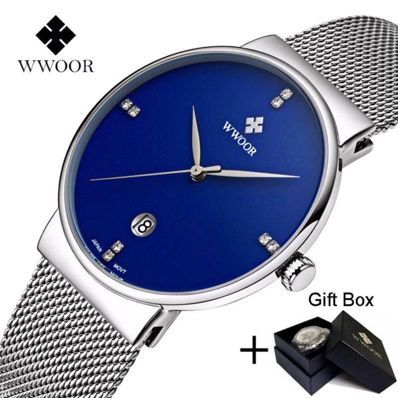 Coowalk Fashion Luxury Men Watches Stainless Steel Mesh Strap Quartz Watch Ultra Thin Dial Clock Birthday Gift Valentine Lover Gift Men Casual Quartz Watch (Blue) Malaysia