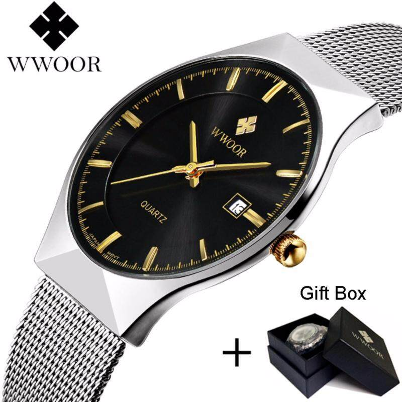 Coowalk Luxury Mens Quartz Watch Ultra Thin Stainless Steel Mesh Band Wristwatch Birthday Gift Valentine Lover Gift Fashion Casual Watches 50m/ 5ATM/ 5BAR Waterproof (Black) Malaysia