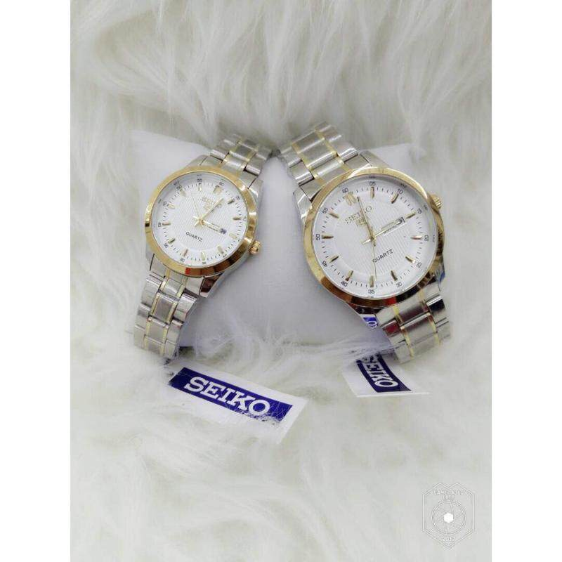 Couple Watch Seiko 5 Silver Strap + White Dial Malaysia