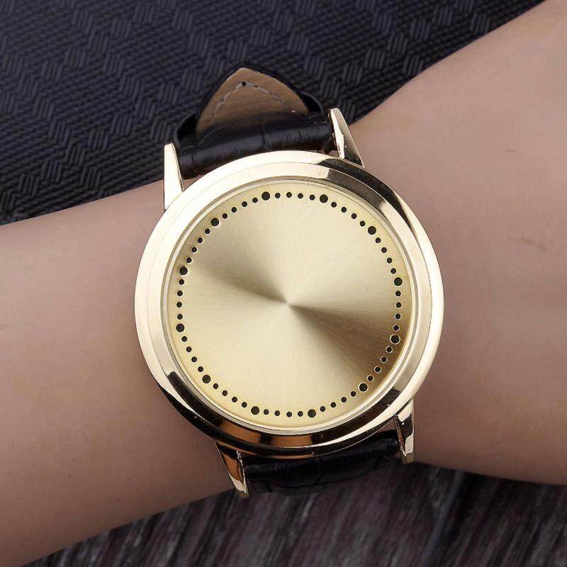 Creative Concept Personality Smart Round Leather Belt Touch Screen LED Watch Malaysia