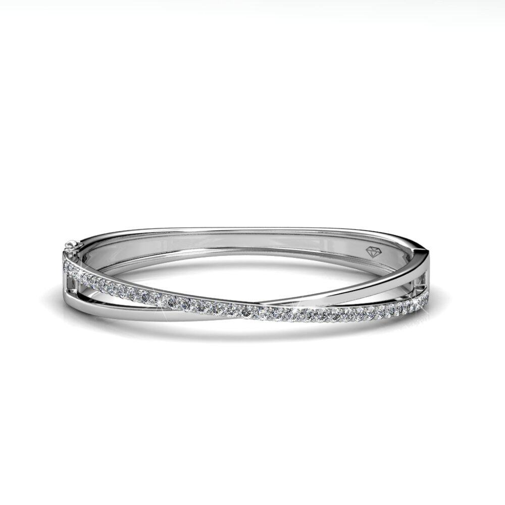 Her Jewellery Criss Bangle embellished with Crystals from Swarovski