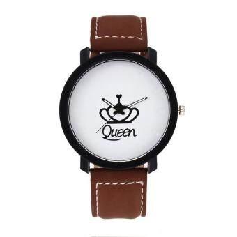 Crown King Queen Couples South Korea Velvet Big Dial Watch (queen Coffee)