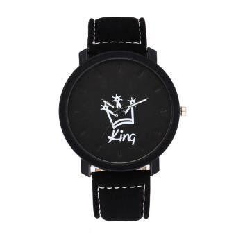 Crown King Queen Couples South Korea Velvet Big Dial Watch(Grey)
