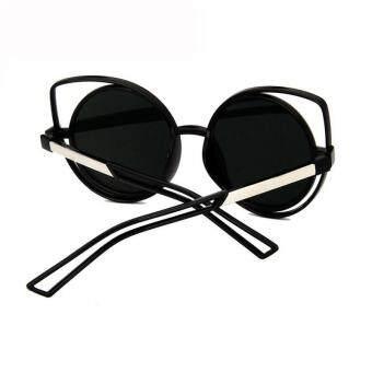 CRUOXIBB Cat Eyes Women Sunglasses Hollow Frame Curving LegsCoating Mirror Brand Designer Sun Glasses(Pink) - 3