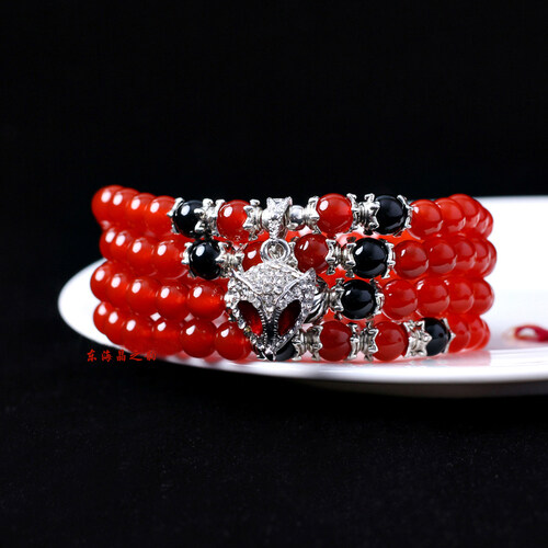 Crystal rhyme red and black agate in East China Sea 108 Buddhist prayer beads bracelet men and women the lovers crystal hand string - intl