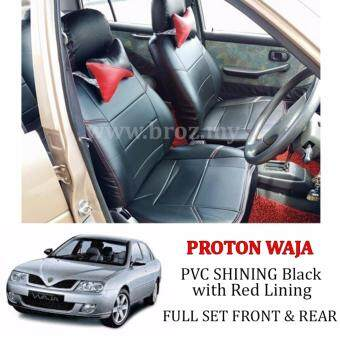 CUSTOM FIT OEM CAR SEAT OR CUSHION COVER PROTON WAJA PVC SHINING WITH RED LINE