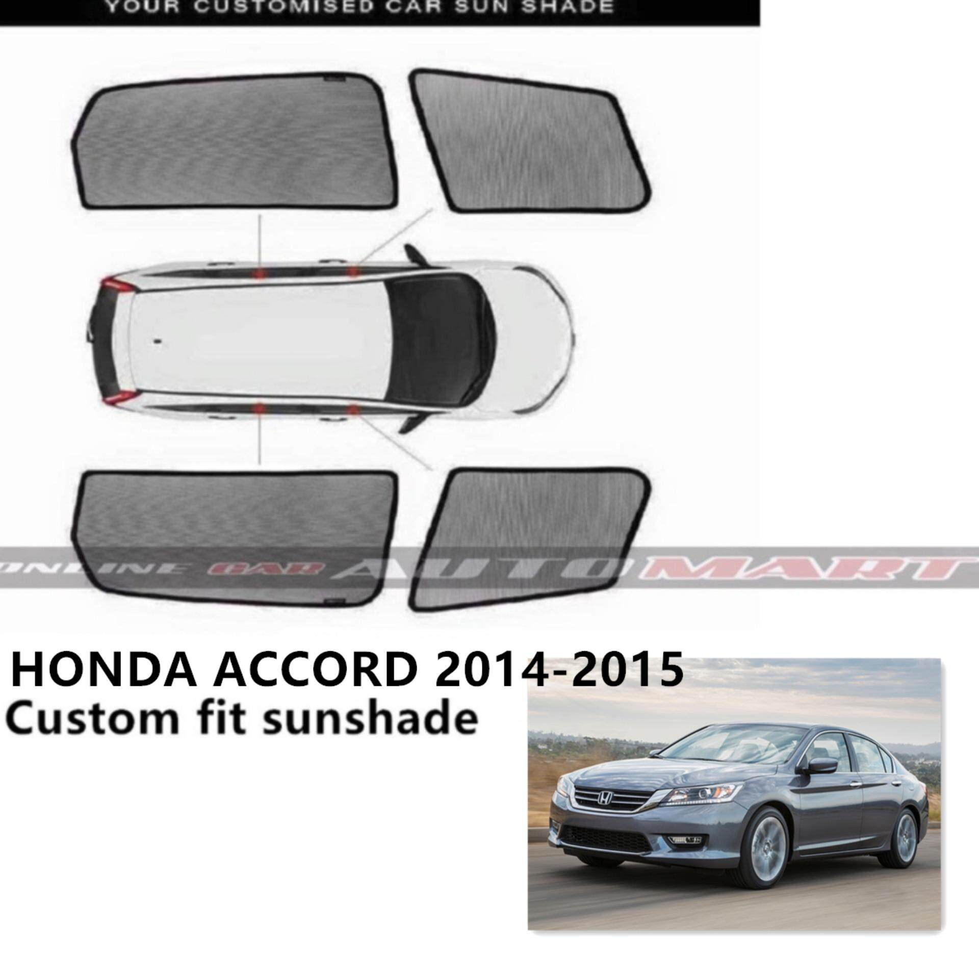 Custom Fit OEM Sunshades/ Sun shades for Honda Accord YR 2014-2015 - 4pcs