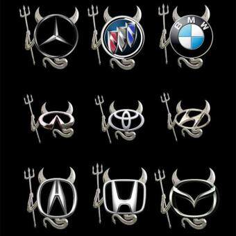 Cute PVC 3D Devil Style silver Demon car stickers and decals autobadge emblem Logo decor car decoration accessories - 4