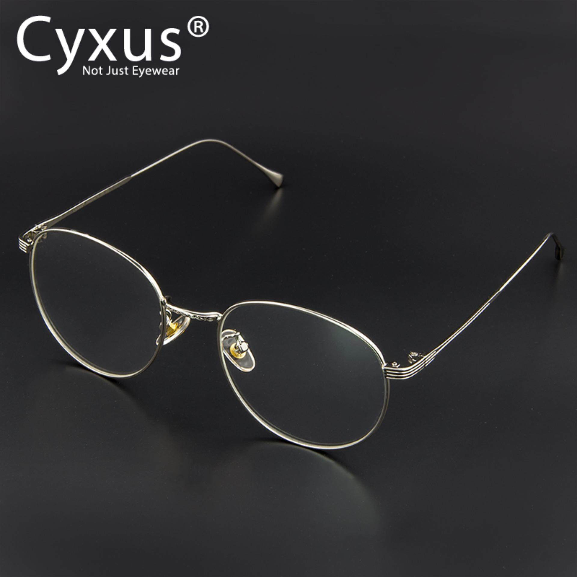 Cyxus Retro Metal Round Computer Glasses Block Blue Light UV Silver/Black Frame Fashion Eyewear