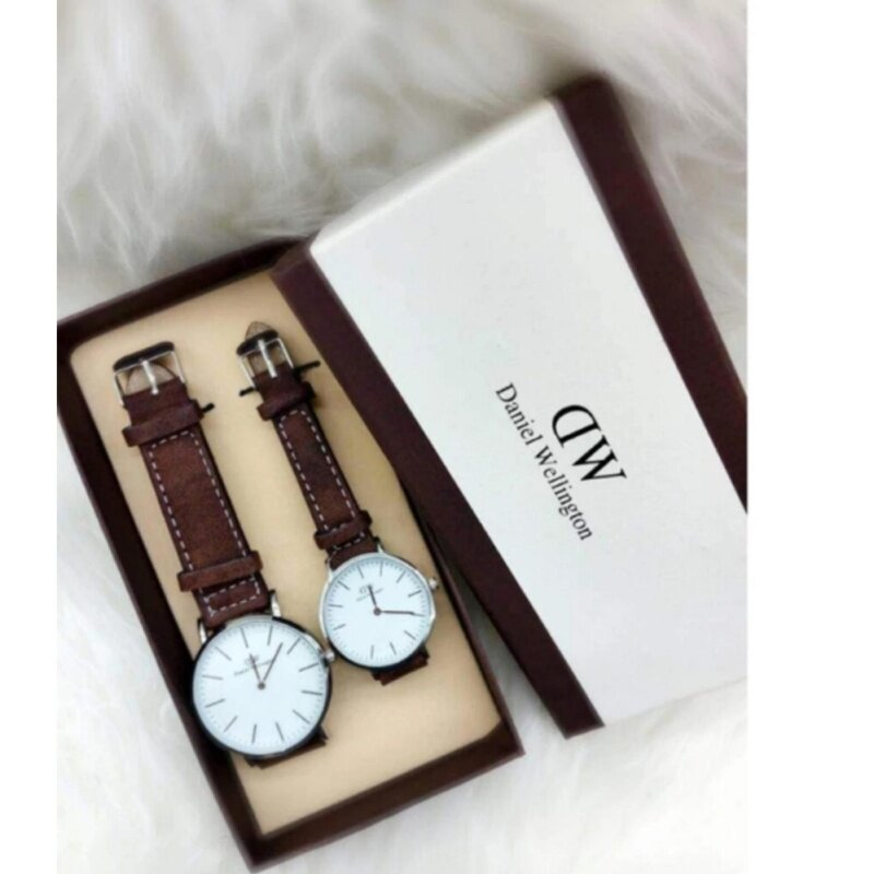 Dark Brown Strap with White Dial Couple Watch Malaysia
