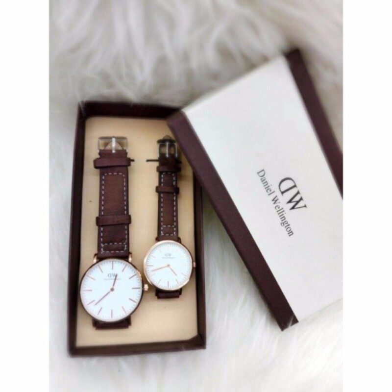 Dark Brown Strap with White Dial Couple Watch [Daniel Welington] Malaysia