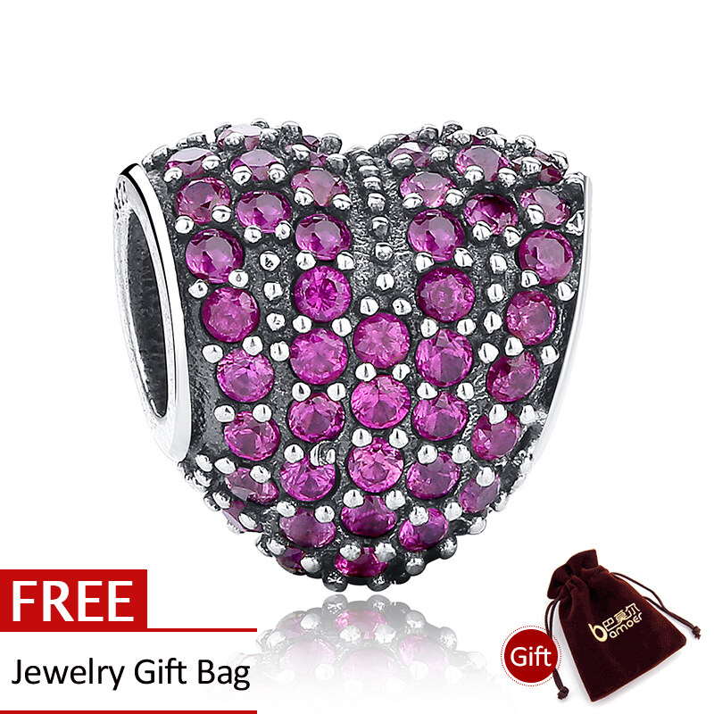 Spesifikasi Dazzling 925 Sterling Silver Love Heart Shape Charm Fit Gelang Dengan Cubic Zirconia Merah Pembuatan Perhiasan Pernikahan Hadiah Pas057 Terbaru