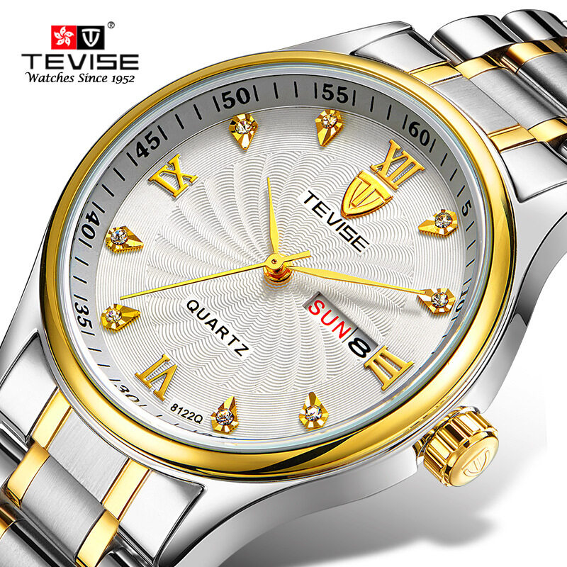 Detective TEVISE waterproof leisure fashion mens stainless steel watch watch quartz lovers non mechanical watch Malaysia