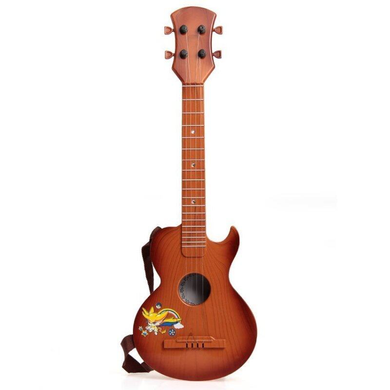DHS Children Toy Guitar 4 String Brown Pattern Plastic Gift Malaysia