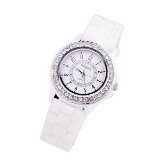 Diamond Girls Silicone Jelly Quartz Analog Sports Wrist Women Watch(White)