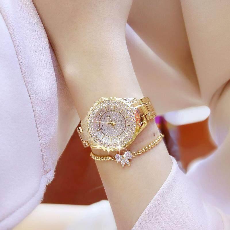 Diamonds Fashion Casual Women Quartz Watch Luxury Gold Stainless Steel Brand Rhinestone Dress Lady Watch Malaysia