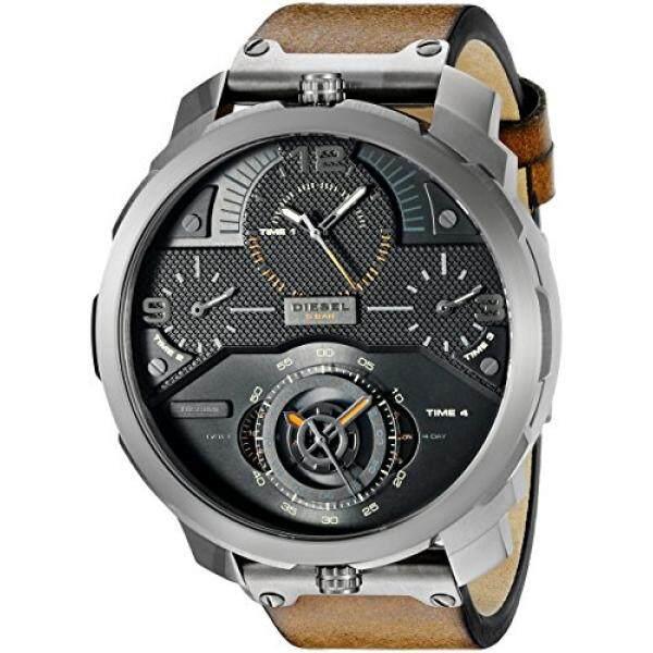 ยี่ห้อไหนดี  ปราจีนบุรี ดีเซลบุรุษ DZ7359 Machinus ควอตซ์อะนาล็อกแสดงผลสแตนเลสนาฬิกาหนังสีน้ำตาล - INTL