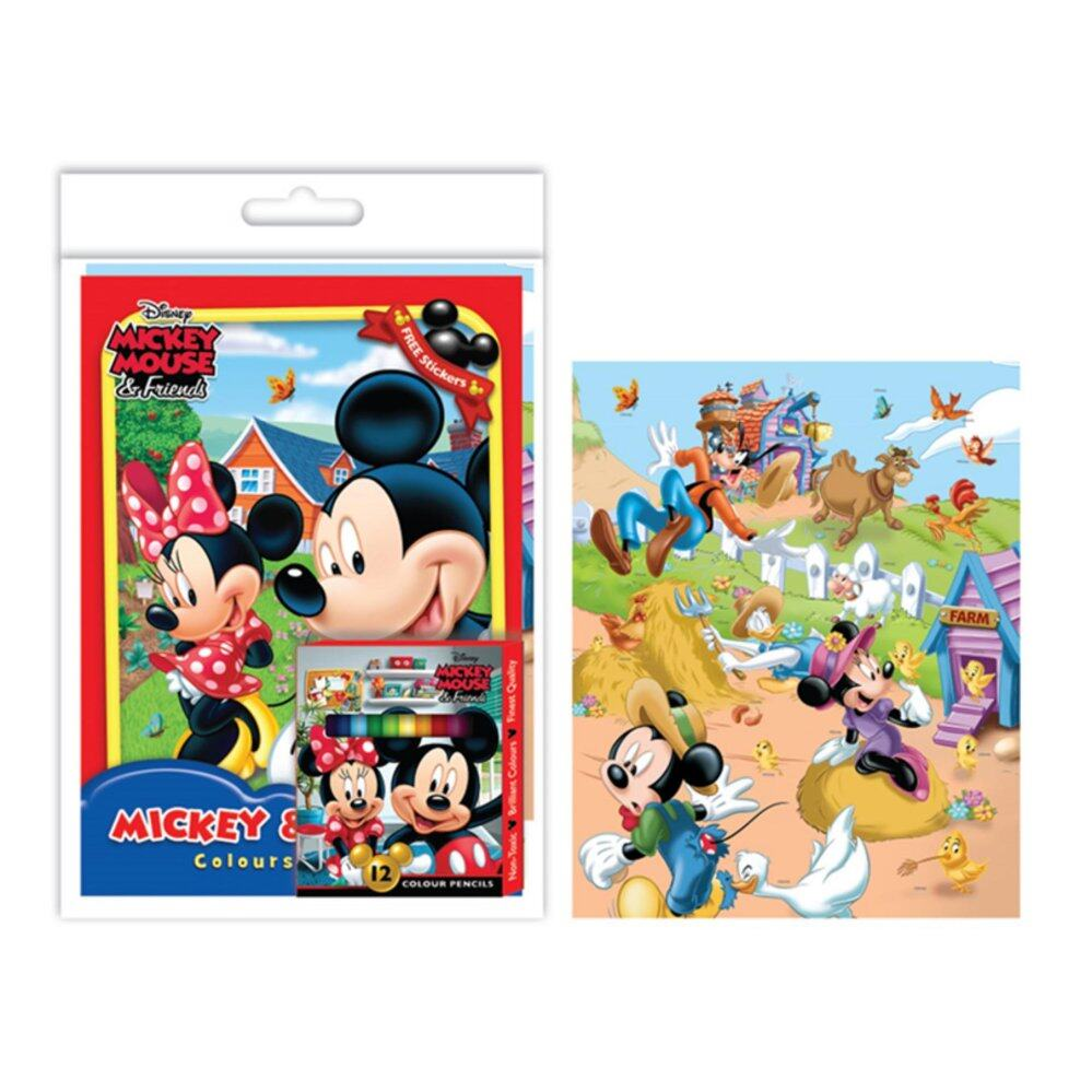 Disney Mickey Colouring Book Set With Sticker - Red Colour