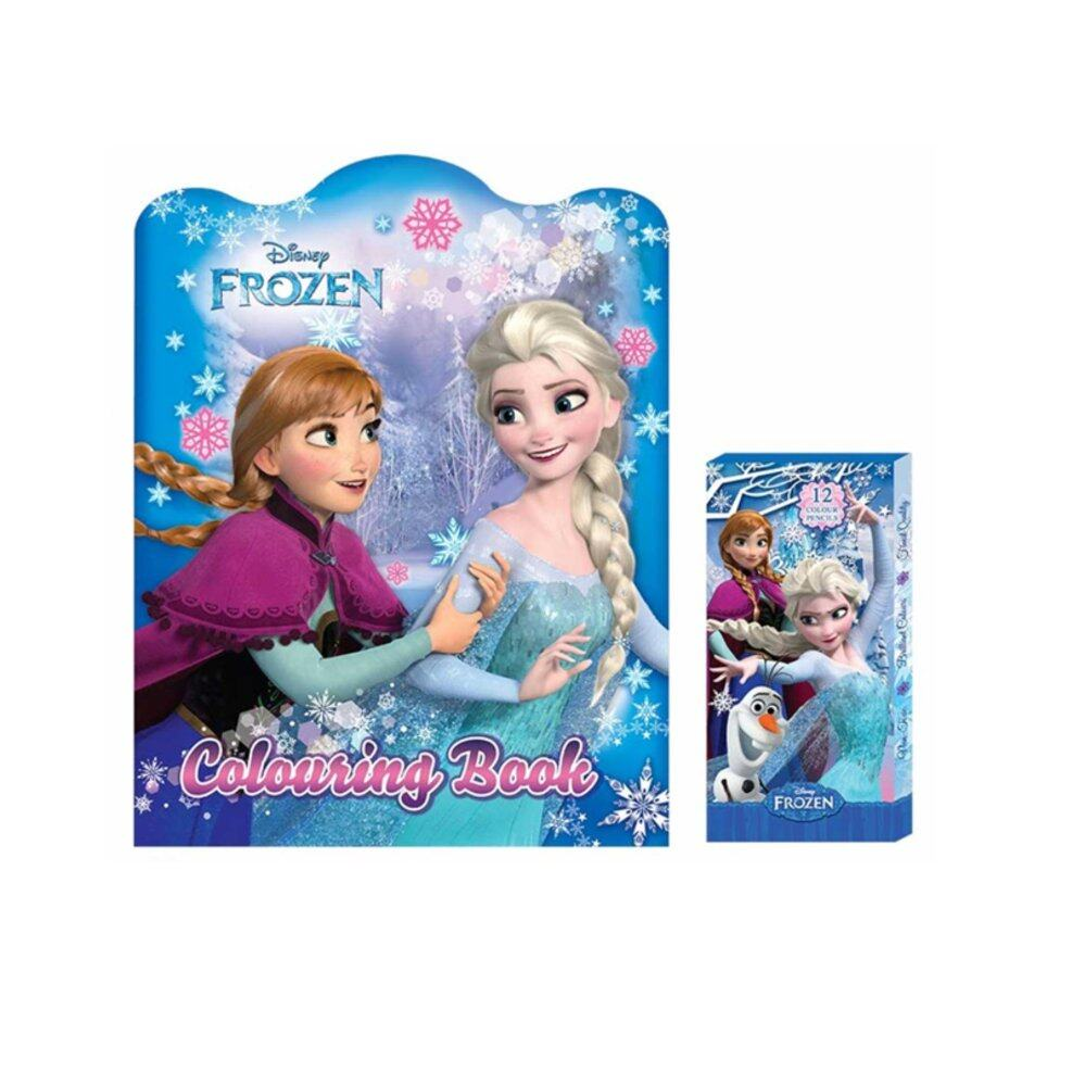 Disney Princess Frozen Colouring Book With 12pcs Long Colour Pencil Set