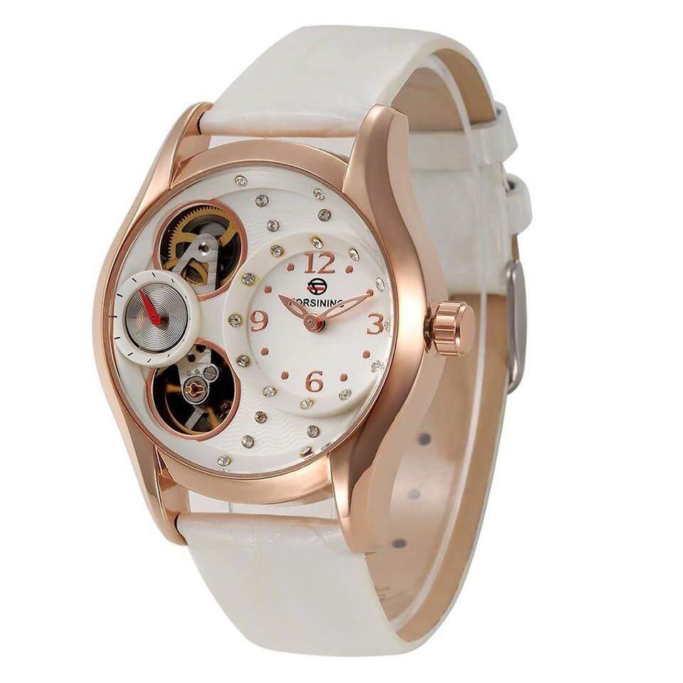 Dmscs Asli Forsining Mewah Merek Wanita Kuarsa Jam Tangan Putih Pu Kulit Arloji Kapal Gratis (Putih)-Internasional
