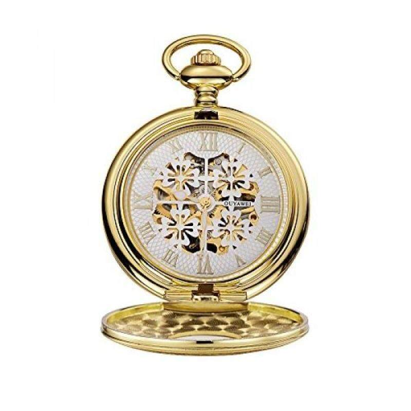 [DNKR]OUYAWEI Ladies Pocket Watch Floral Pattern Hollow Dial Delicated Carved Case Mechanical Hand-wind Fob Watch (Gold White) Malaysia