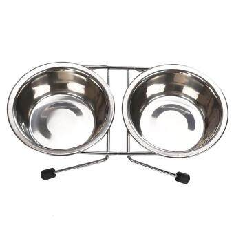 Double Bowl Elevated Pet Feeder Bowl Dog Food Water Dish Stainless Steel Stand