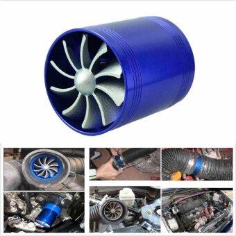 Double Car Air Intake Filter Fuel Gas Saver Fan Blue Engine Enhancer Turbine
