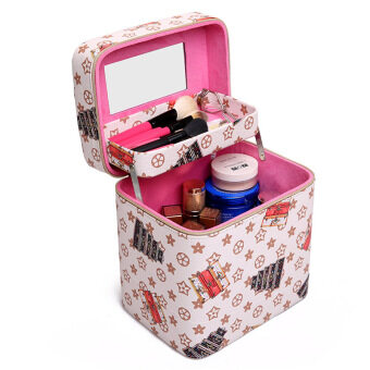 Harga Double layer cosmetic bag korea big printing portable cosmetic bagcosmetic box large capacity portable professional cosmetics storagebag