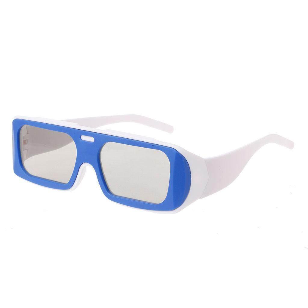 Ganda Warna Bingkai Bundar Terpolarisasi Pasif 3D Stereo Kacamata untuk Nyata D 3D Bioskop Bioskop (Biru)-Internasional