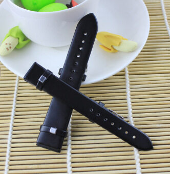 Durable High-grade PU leather Womens Mens Watch hand Strap16MM-20MM Black-