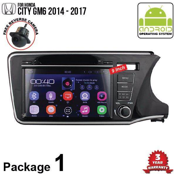 "HONDA CITY GM6 2014 - 2016 SKY NAVI 9"" FULL ANDROID Double Din GPS DVD CD USB SD BLUETOOTH IOS Mirror Link Player (Package 1)"