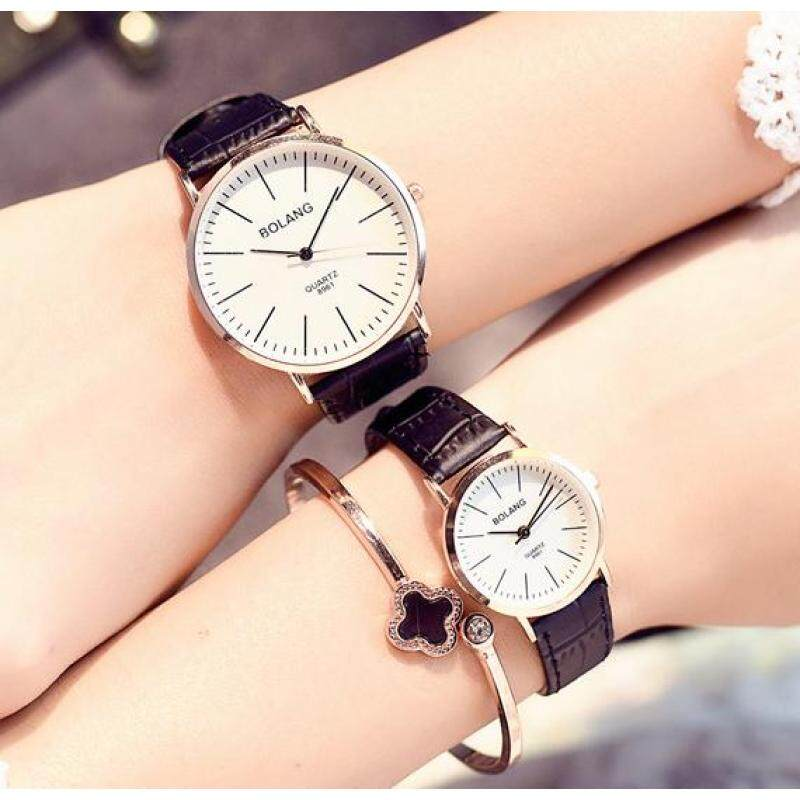 DZ-set of two-Female students Korean fashion simple Large Dial Mens belt watch couple watches a (black) Malaysia