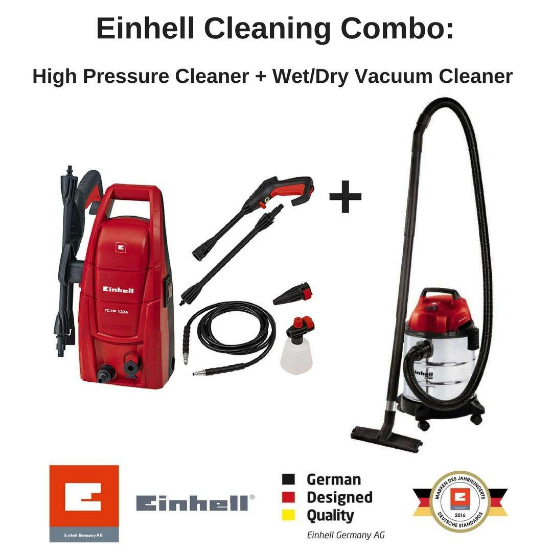 Einhell Cleaning Combo: High Pressure Cleaner + Wet/Dry Vacuum Cleaner