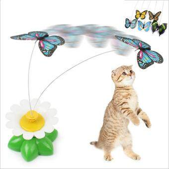 Harga Elife Funny Electric Butterfly Flying Around The Flower Pet CatToys Cat Teasing Toy