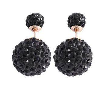 FANCICO Double Crystal Ball Stud Earrings