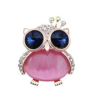 FANCICO Fashion Rhinestone crown opal Owl Brooch