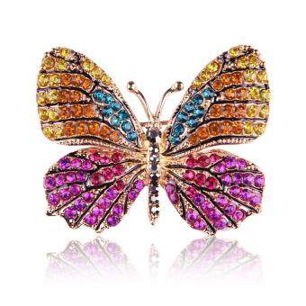 Harga FANCICO Lovely Luxury Mixed Colored Crystals Butterfly Brooch Pins