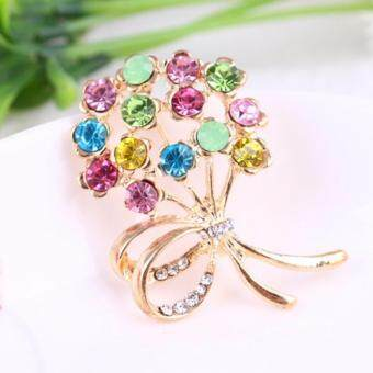 FANCICO Shiny colored bouquet Pin brooch