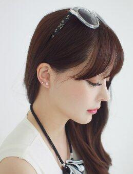 Fantastic Flower Crystal Stud Earrings Cute Ball Rhinestone Pearl Earring Set Pretty Jewelry Love Classics Earrings Retro Women -Silver - 3