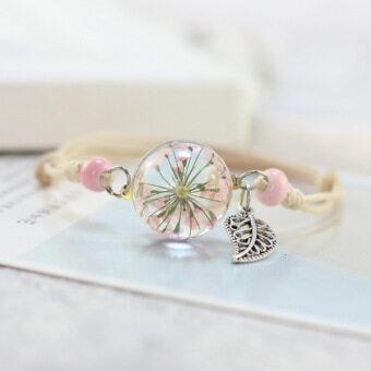 Fantastic Flower Dry Plant Specimen Bracelet Glass Ball Dandelion Dandelion-Blue Babysbreath