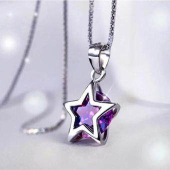 Harga Fantastic Flower Women 925 Sterling Silver Zircon Star CrystalPendant Necklace Chain Jewelry NEW