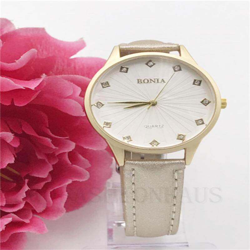 Fashion-BONI Fashion Simple Quartz Watch PU Leather( gold)-BEIGE Malaysia