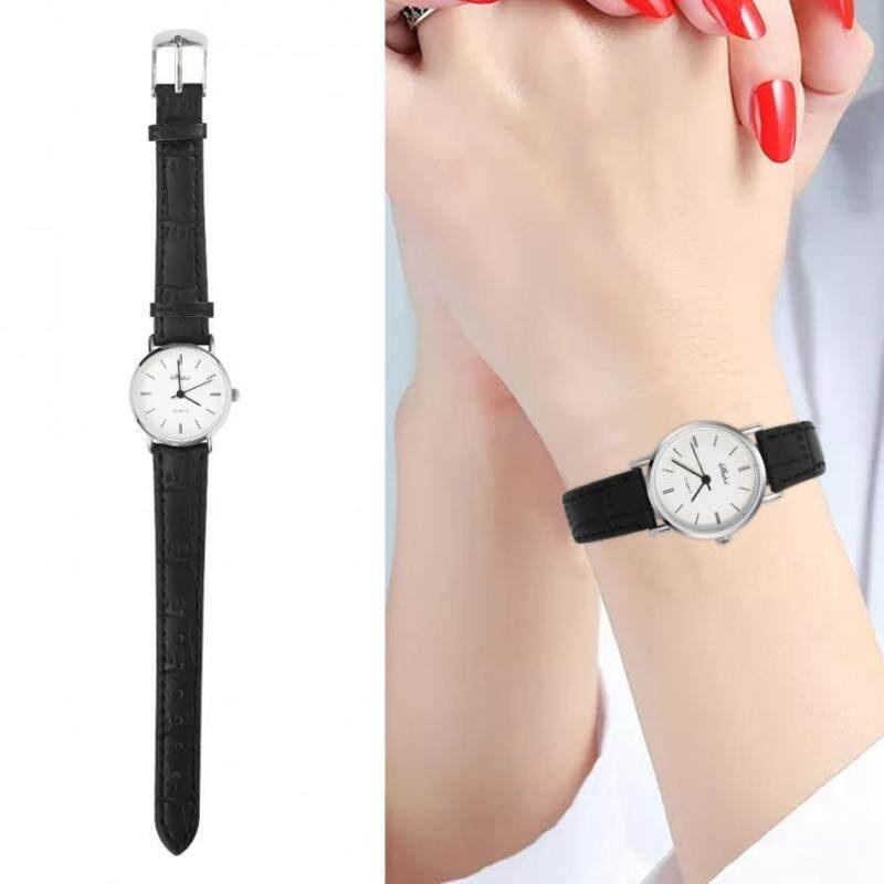 Fashion Boys Girls Quartz Wristwatch Round Lovers Analog Watch- Black Female Malaysia